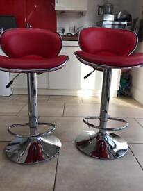 Red kitchen stools *price reduced* £60 for the pair