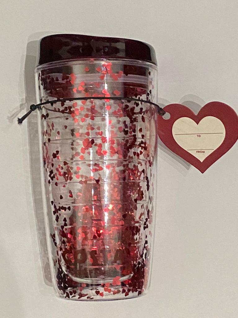 Costa Coffee Heart Glitter Travel Cup 450ml with Valentines Gift Tag | in Buckley, Flintshire | Gumtree