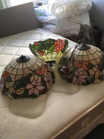 3 large Tiffany style light fittings