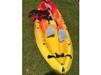 Ocean duo kayak , 2 paddles and Xl life jacket