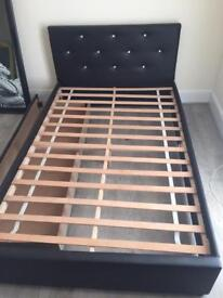 Black Faux Leather 3/4 size bed frame