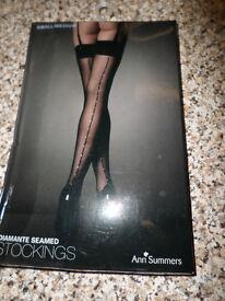 Womans Ann Summers Diamante Seamed Stockings. Small / Medium