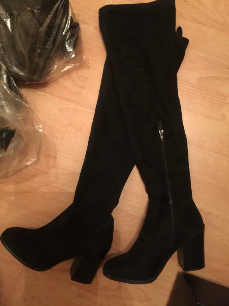 6e1354b7fa6 Black suede effect over the knee boots