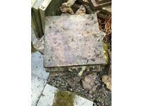 Pink paving slabs