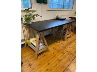 (STILL AVAILABLE) 3x IKEA solid wood trestle leg / black top 150x75cm desks