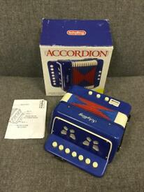 Rare vintage retro blue toy SCHYLLING ACCORDION Instrument 2000 boxed complete SDHC