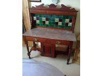 ART NOVEAU STYLE MAHOGANY WASHSTAND WITH MARBLE TOP AND TILE BACK