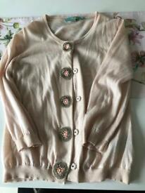 Boden 3/4 sleeve peach wool cardigan with beautiful beading detail - size 12