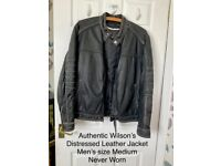 New Authentic Wilsons Distressed Leather Jacket (size S/ M)