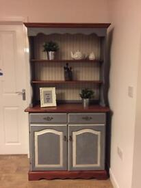 Beautiful fully upcycled country/farmhouse Welsh dresser in anthracite grey and cream finish
