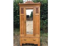 Vintage wooden single wardrobe