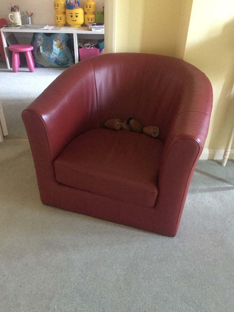 Marks And Spencer Red Leather Tub Chair In Eastleigh