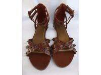 La Redoute multi strap ladies sandals, brown leather with green beading, EU40 / UK7