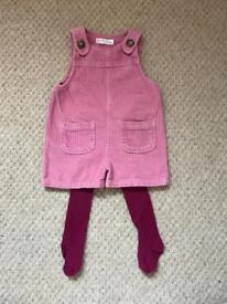Lovely smokey pink corduroy dungarees with purple tights - age 9-12 months