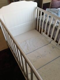 Obaby Beverley white cot bed, mattress and bedding