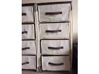 Wood frame/canvas 4-drawer chest of Drawers, cream/chocolate - 2 available