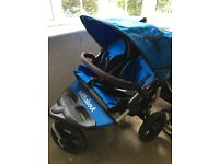 Double Nipper Out N About Pushchair Lagoon Blue