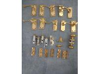Joblot brass door handles, hinges etc