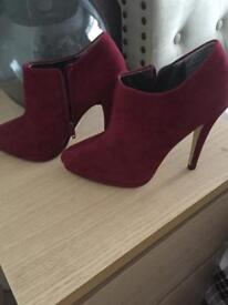 Wine colour ankle boots