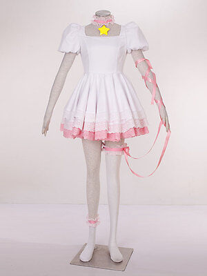 Card-captor Sakura KINOMOTO Cosplay Kostüm Lolita Pink Weiss Kleid Version (Kinomoto Sakura Kostüm)