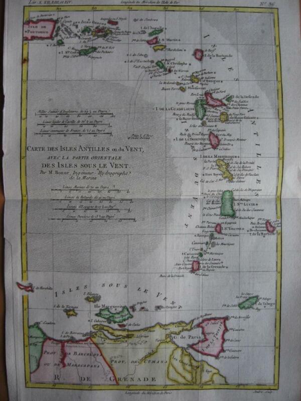 BONNE - Map  WEST INDIES AND VIRGIN ISLANDS Isles Antilles ou du Vent c1780