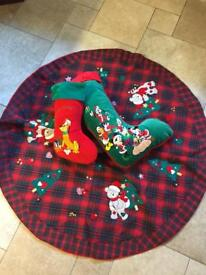 2 Luxurious Velvet Christmas Stocking & Christmas Tree Skirt - NEW