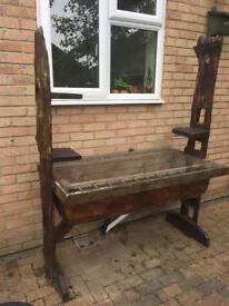 Unusual reclaimed wood garden table