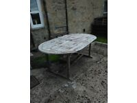 Large wooden patio table