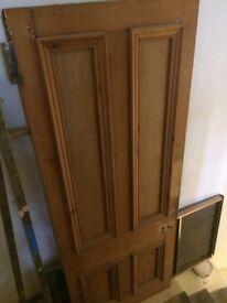 """Solid Pine original Victorian 4 panelled door 89"""" x 34"""""""