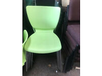 Lime Green Plastic & Chrome Stackable Chairs