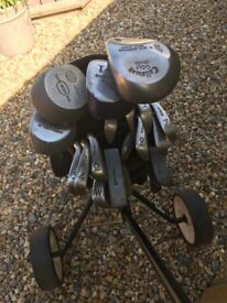 Full set of golf clubs, trolley and bag
