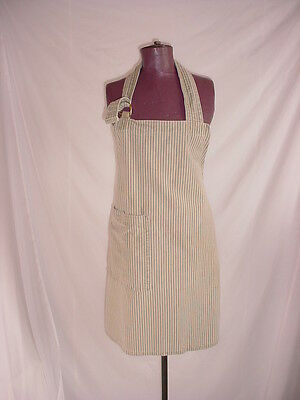 Cotton Striped Full Apron Bib with Ties and Large Pocket Beige
