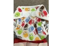 Two reusable nappies wraps motherease and blueberry