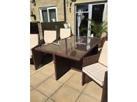 Rattan garden table and chairs