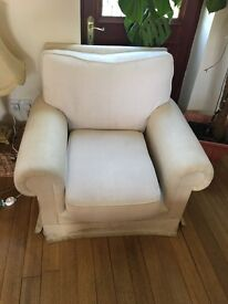 White used sofas and armcheir in a good condition and needs to be cleaned