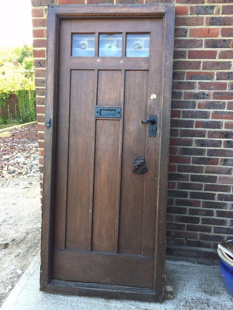 Period 1930s Solid Oak Front Door and Door Frame   in Guildford ...