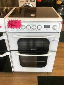 HOTPOINT 60CM WIDE DOUBLE OVEN ELECTRIC COOKER