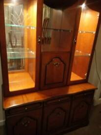 Complete Dining Room furniture cherry wood. 6 chairs and table corner unit and wall unit