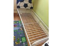 Single bed frame white metal with football headboard