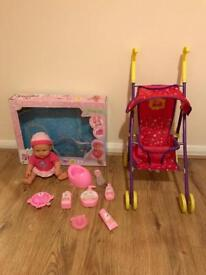 peppa pig pram pushchair stroller buggy toy with doll box accessories