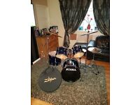 Tama stagestar drum kit with nearly new zildjian cymbals super condition
