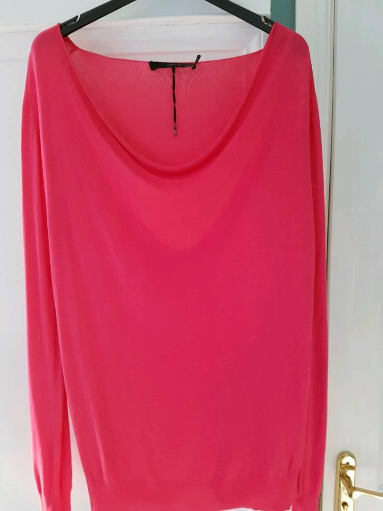 Calvin Klein pink fine knit jumper