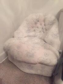 Vintage style Retro Chair Blue and White Upholstered (not professionally) Time and Tide Fabric