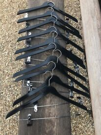 Boutique Quality Black Gloss Wooden Coathangers with clips - VGC - Packs 0f 10
