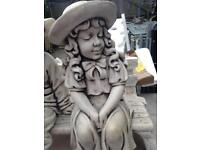 Town boy and girl on bench statue XL