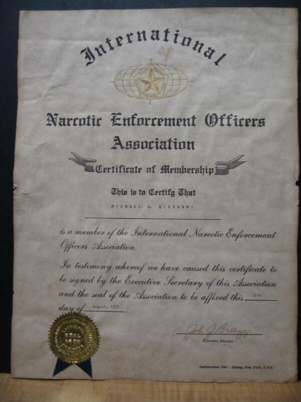 1971 INTERNATIONAL NARCOTIC ENFORCEMENT OFFICERS  ASSOC. CERTIFICATE