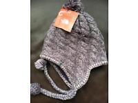 North Face Fuzzy Earflap Bean Greystone Blue Hat One size Brand new with tags
