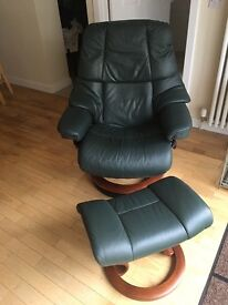 Ekorne leather recliner chair and footstool