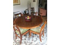 Perfect condition 4ft circular Yew wood table and chairs