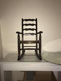 Miniature solid wood rocking chair 1930s